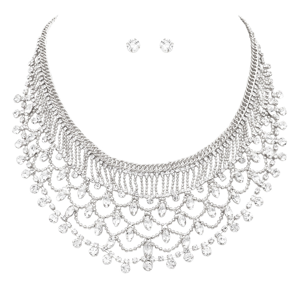 Vintage Design Crystal Rhinestone and Beaded Collar Necklace and Earrings Set (Silver)