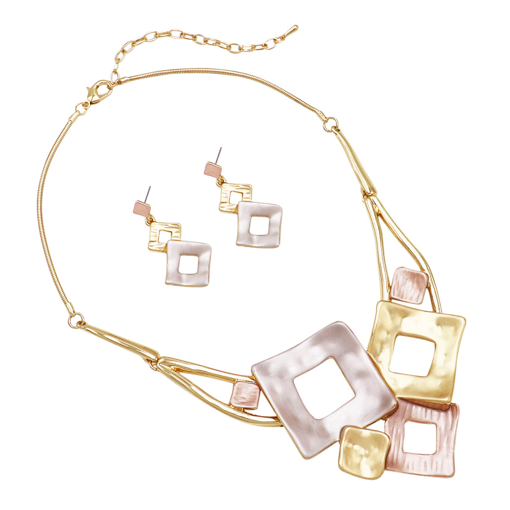 Contemporary Tri-Tone Pendant Collar Necklace and Earrings Jewelry Set