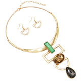 Geometric Links with Large Glass Crystals Statement Collar Necklace and Earrings Jewelry Set (Green/Gold Tone)