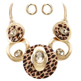 Statement Leopard Print Resin Geo Hoop Link with Glass Crystals Bib Necklace and Earring Jewelry Set (Leopard Print Gold Tone)