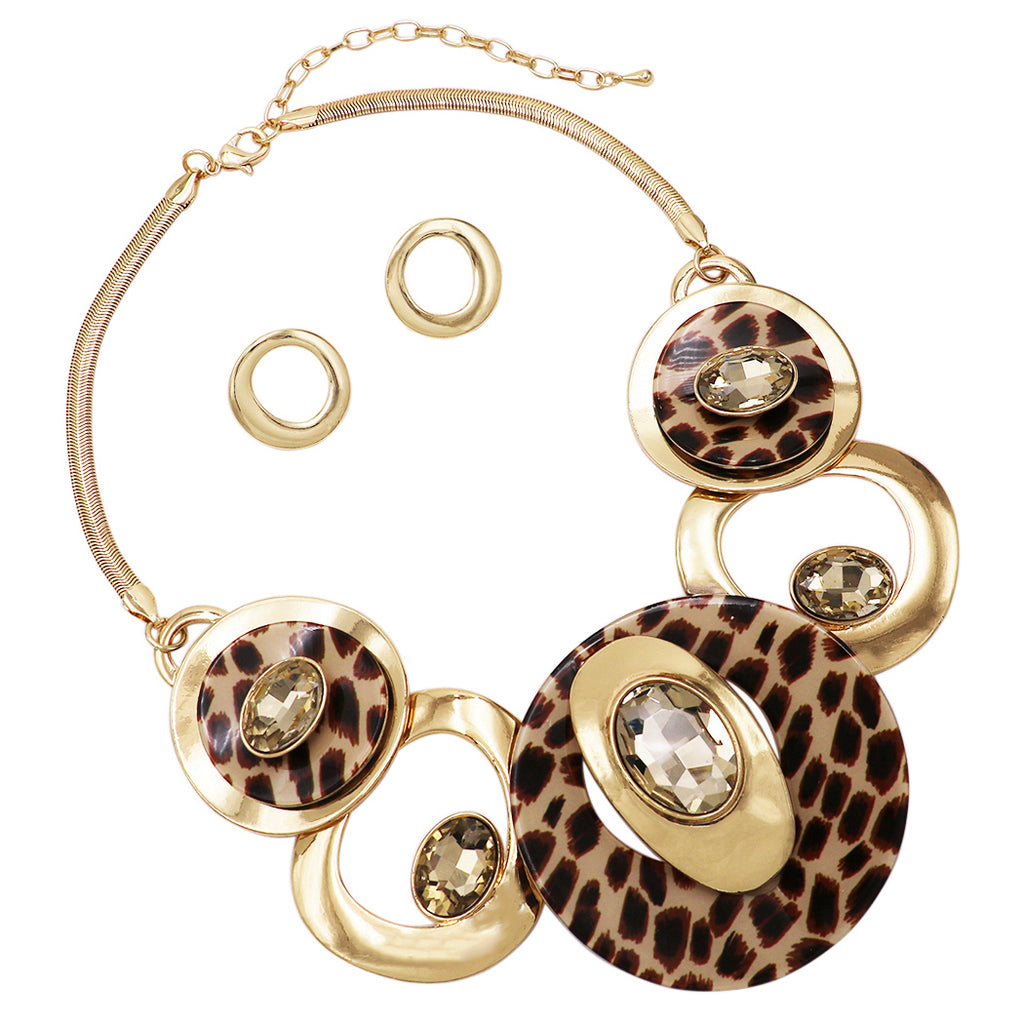 Wild Contemporary Statement Leopard Print Resin Geo Hoop Link with Glass Crystals Bib Necklace and Earrings Set (Leopard Print Gold Tone)