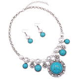 Rosemarie Collections Women's South Western Style Circular Turquoise Color Concho Statement Necklace Earring Jewelry Gift Set