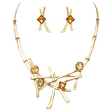 Contemporary Polished And Matte Metal With Glass Crystals Geometric Bib Necklace and Earring Jewelry Gift Set (Gold Tone)