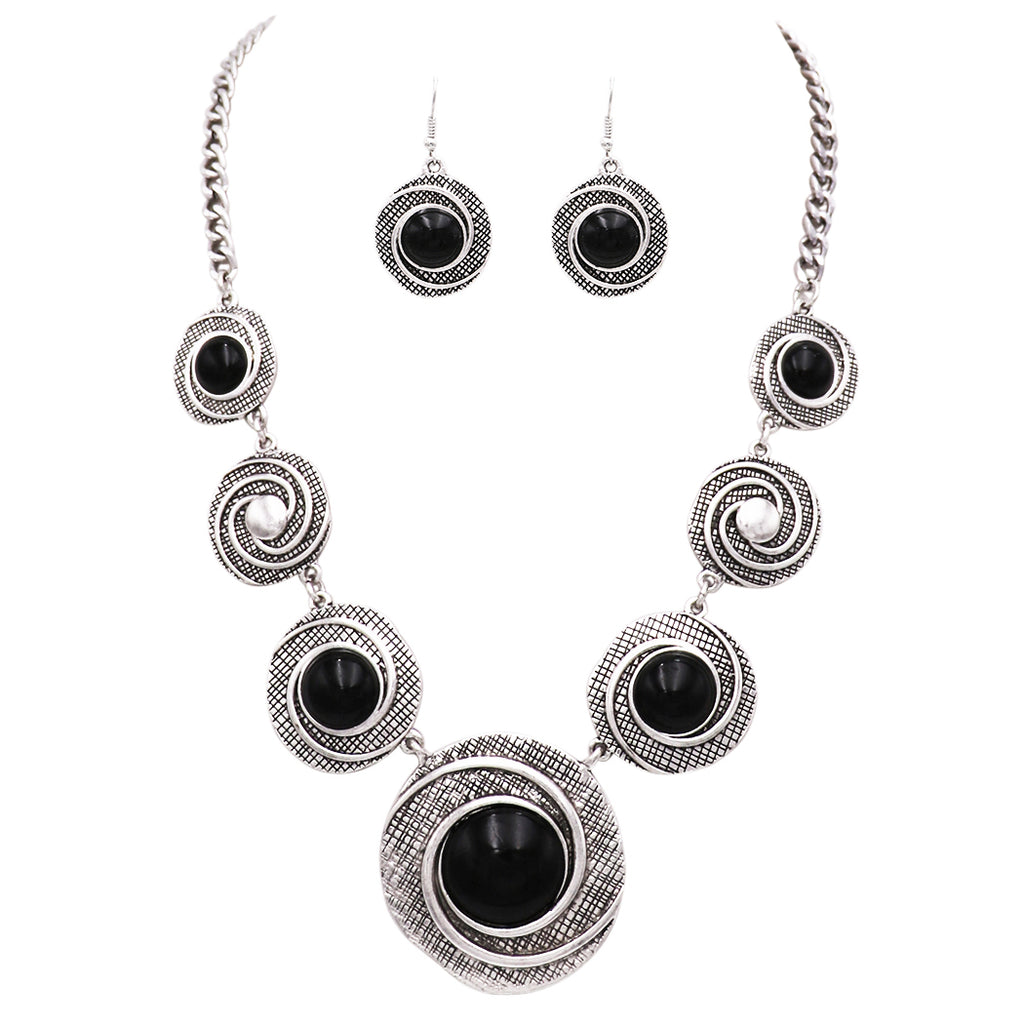 Rosemarie Collections Women's Circular Medallion Style Black Howlite Statement Necklace Earrings Set