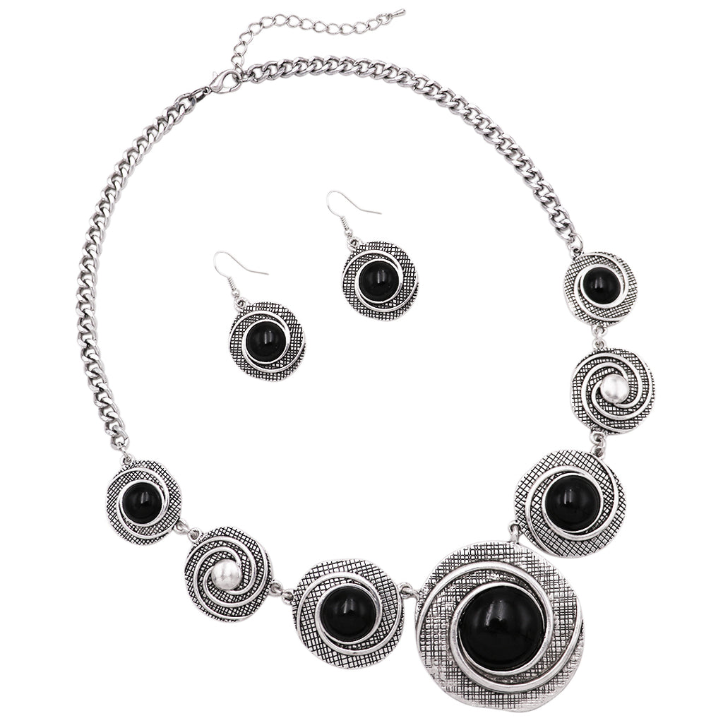 Rosemarie Collections Women's Circular Medallion Style Black Howlite Statement Necklace Earrings Gift Set