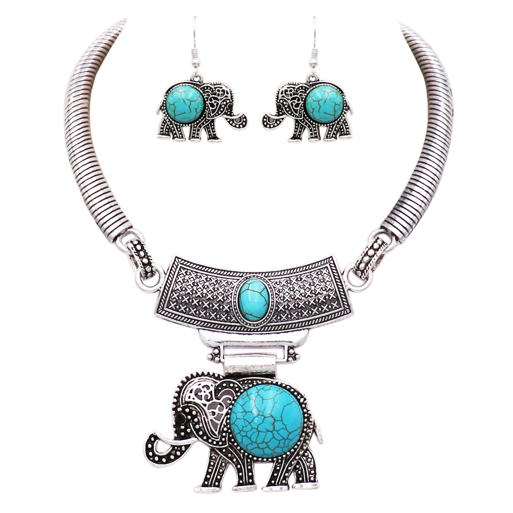 "Rosemarie Collections Women's Luck Elephant Circular Turquoise Statement Necklace Earring Jewelry Gift Set, 13"" with 3"" Extender"