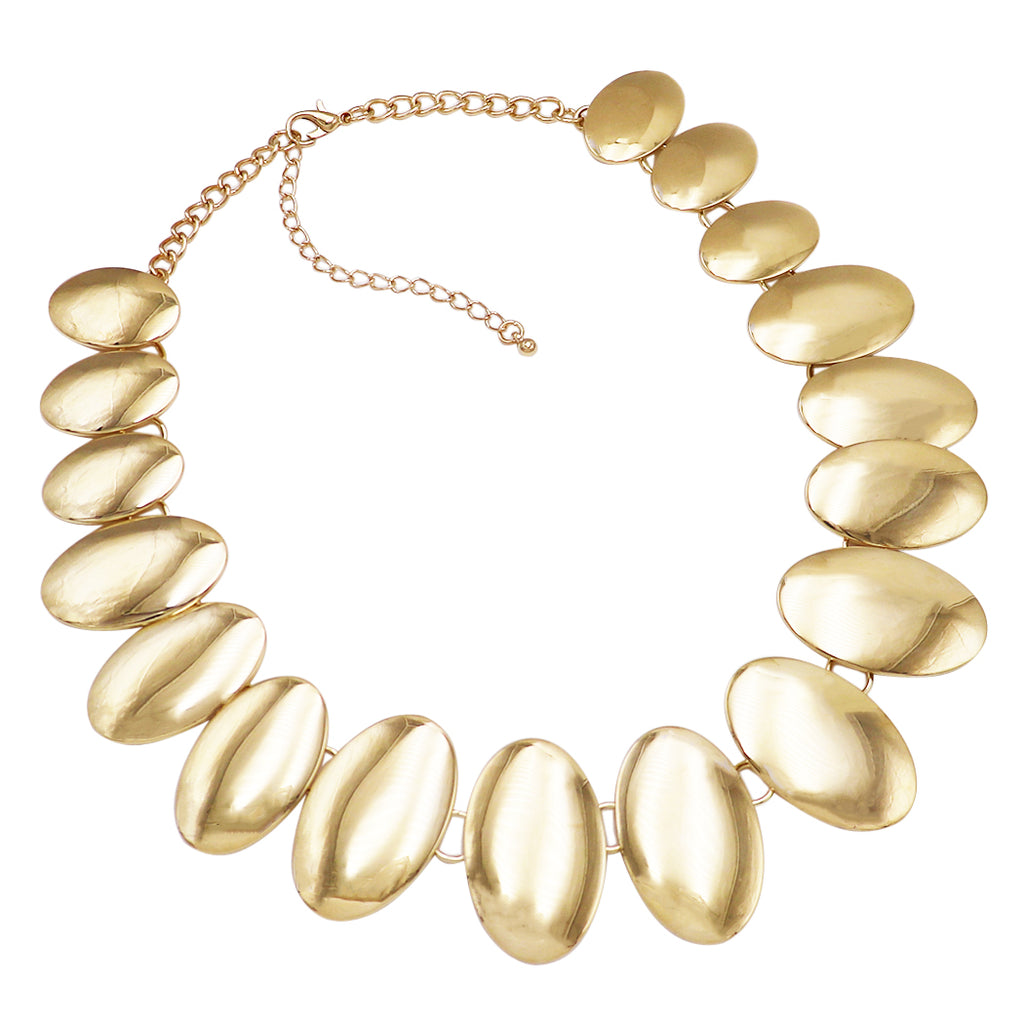 women's Gold Tone Oval Disc Statement Drop Necklace Dangle Earring Jewelry Gift Set