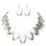 Polished Metal Oval Disc Statement Necklace Drop Earrings Set (Silver)