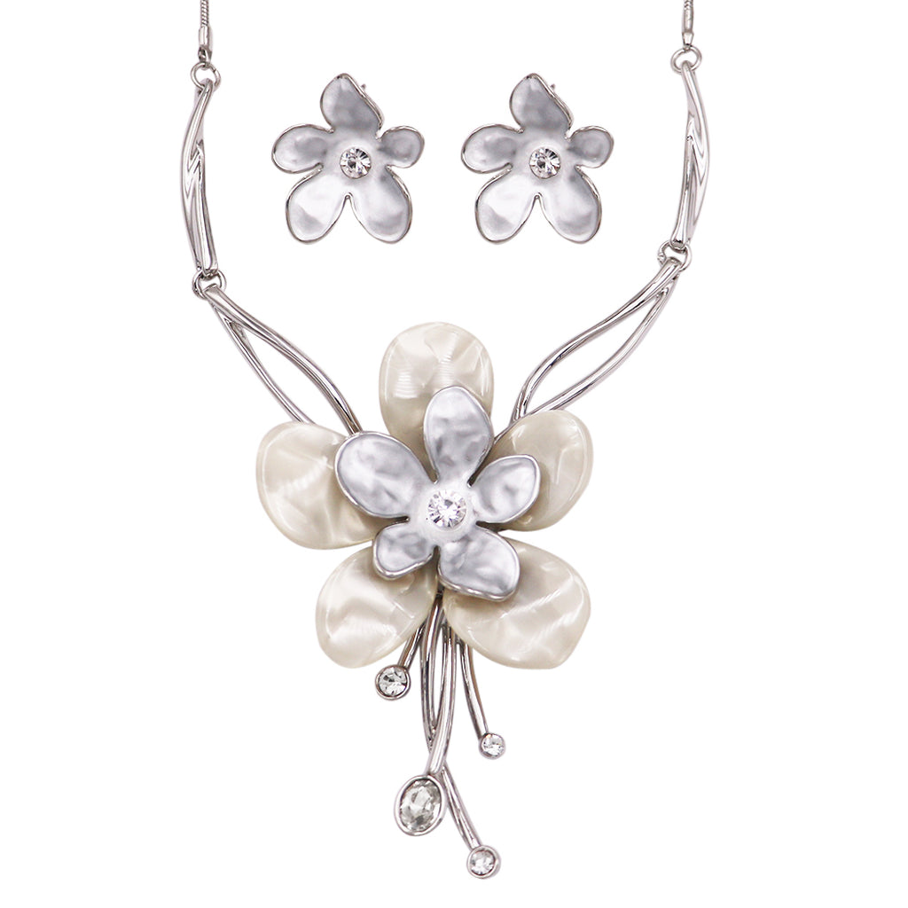 Silver Tone Enamel and Lucite Daisy Flower Bib Necklace and Earring Set