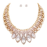 Statement Classic Style Marquise Crystal Rhinestone Necklace and Earrings Bridal Jewelry Set