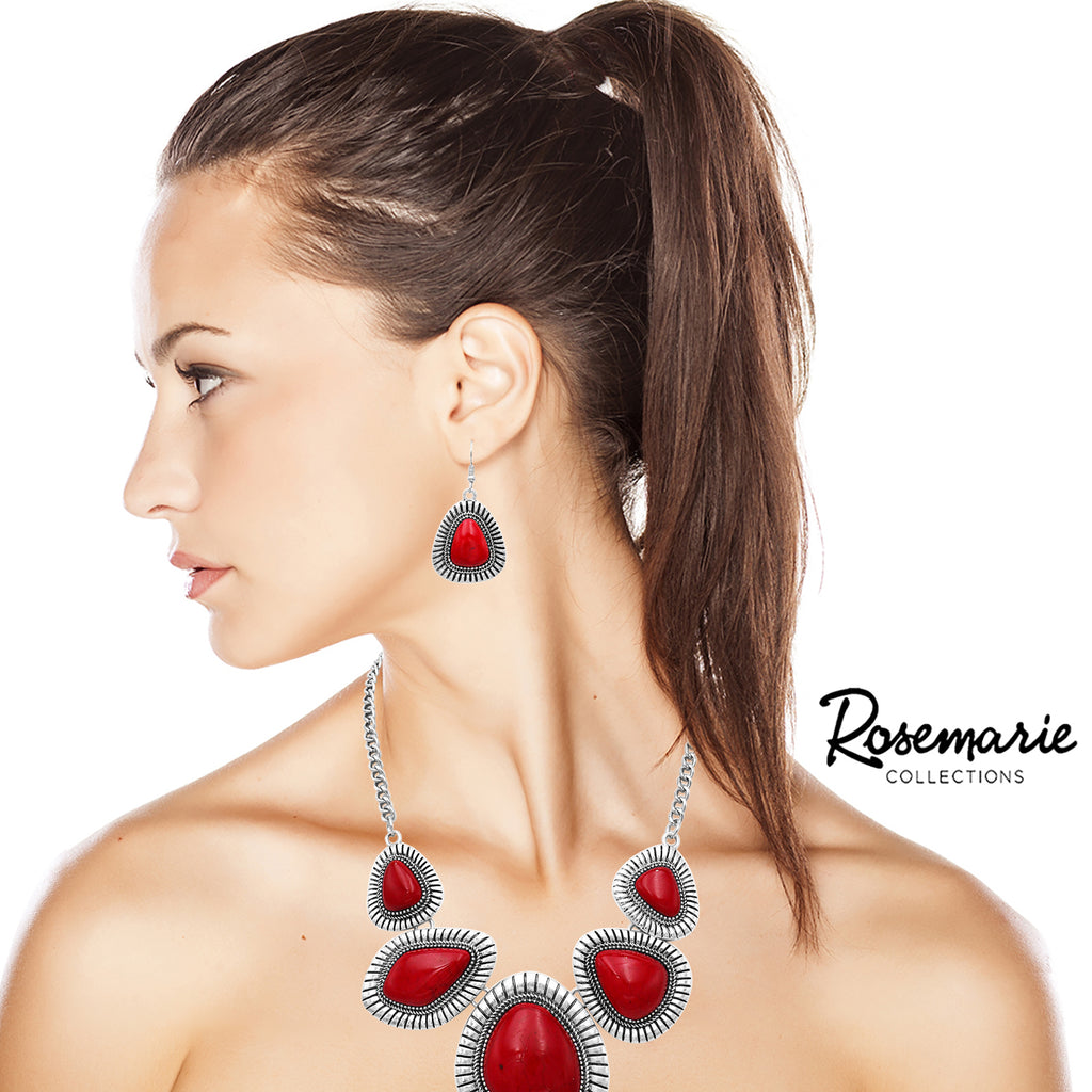 Southwest Boho Style Multi Stone Long Statement Necklace and Earrings Jewelry Set