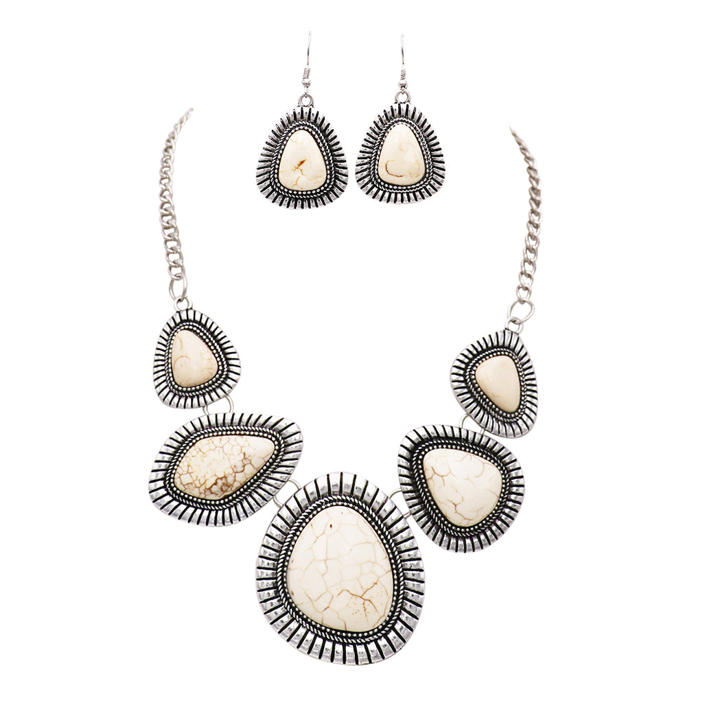Southwest Boho Style White Multi Stone Long Statement Necklace and Earrings Jewelry Set