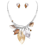 Enamel and Resin Leaf and Vine Statement Pendant  Necklace Earrings Jewelry Gift Set (Tan/Silver Tone)