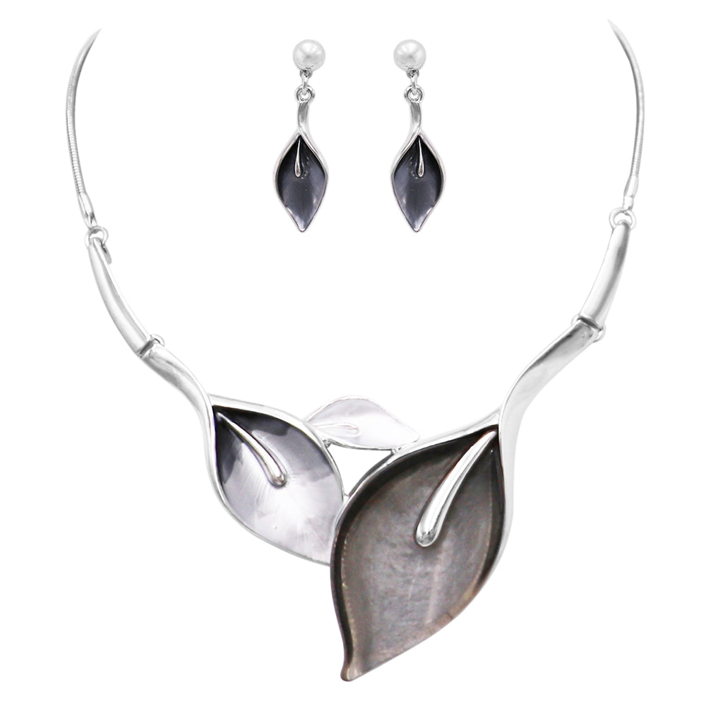 Statement Silver Enamel and Resin Leaf and Vine Necklace Earrings Set