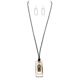 Rectangular Geometric Two-Tone with Glass Crystal Corded Necklace and Earrings Jewelry Set