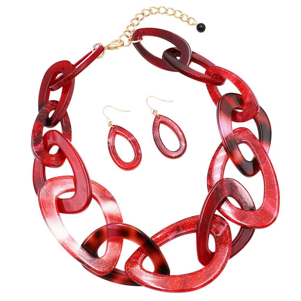 Lucite Link Chain Statement Necklace Earrings Jewelry Set (red and burgundy)
