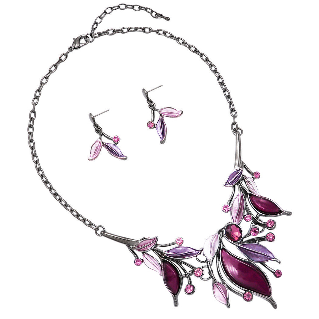 Metal and Resin Leaf Crystal Statement Necklace Earrings Set (Purple/Hematite)