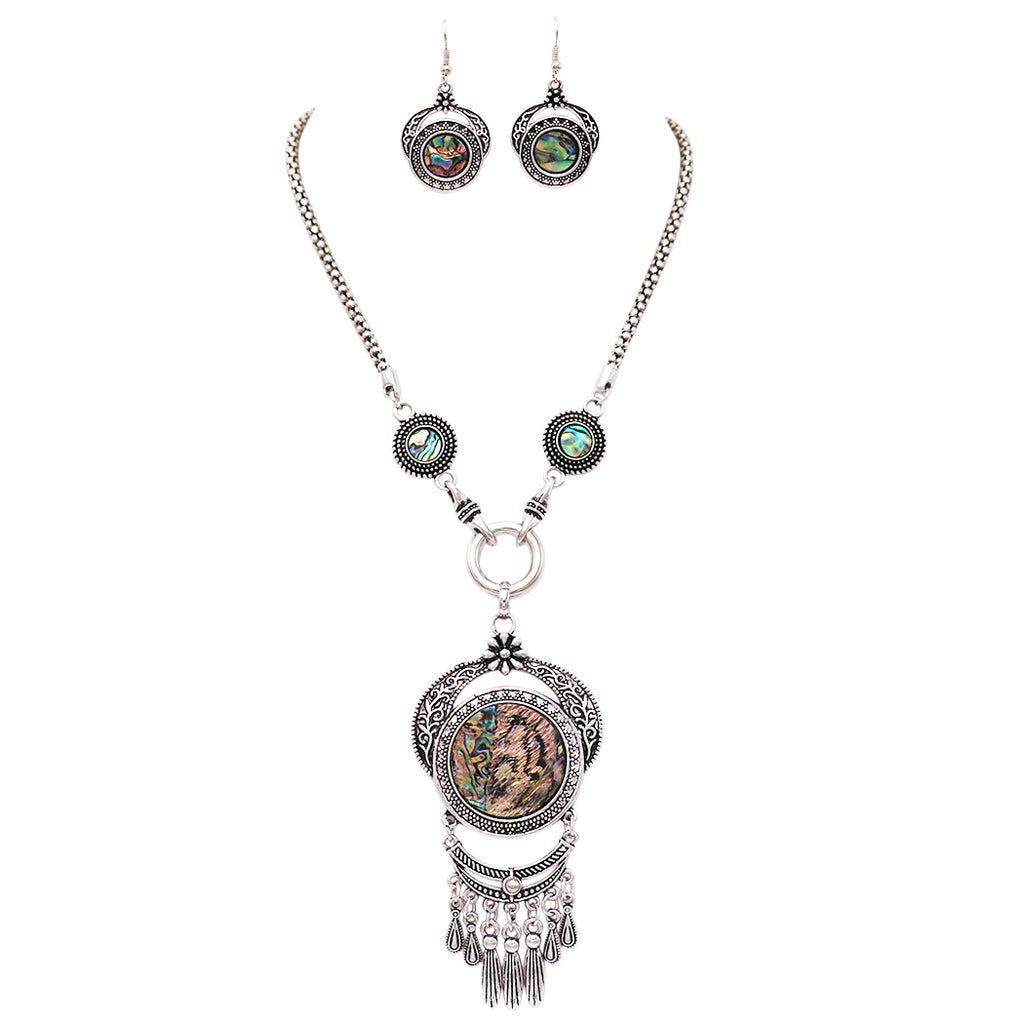 Rosemarie Collections Women's Intricate Southwestern Style Stone Statement Necklace and Earrings Set (Abalone)