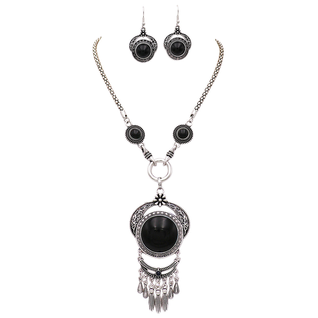 "Women's Intricate Dramatic Black Stone Dangle Pendant Necklace and Earring Jewelry Set, 17"" with 3"" Extender"