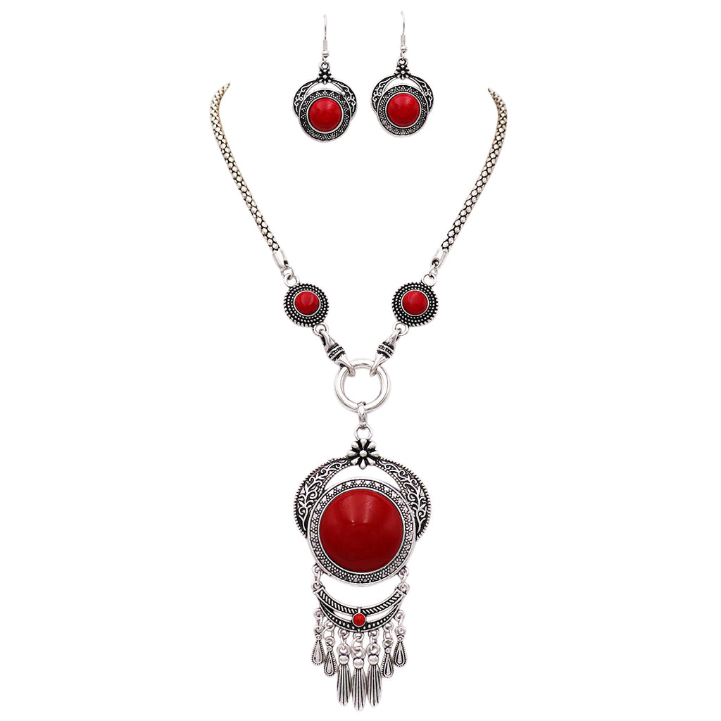 Rosemarie Collections Women's Intricate Southwestern Style Red Stone Statement Necklace and Earring Jewelry Set