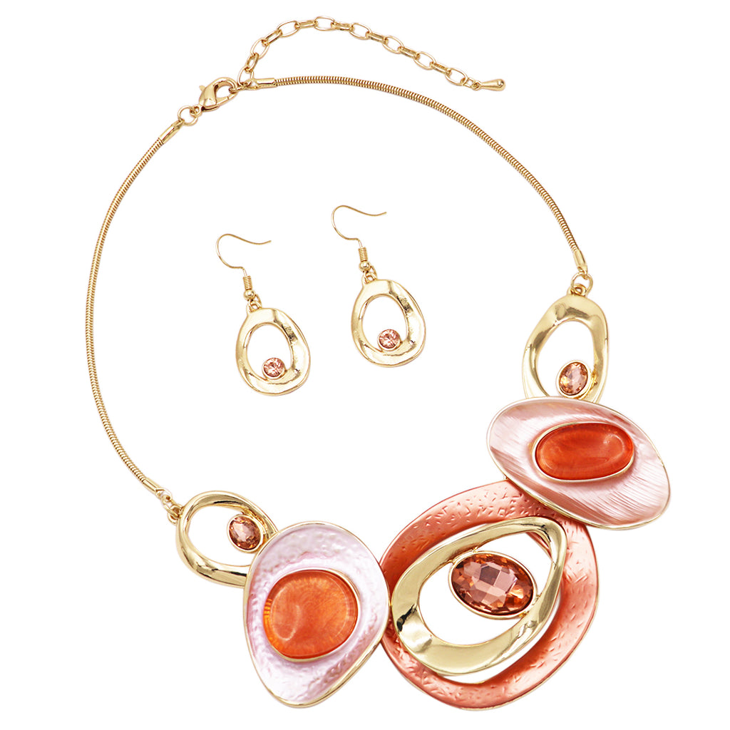 Peach Sunset Contemporary Resin and Enamel Geo Hoop Link with Glass Crystals Bib Necklace and Earrings Set (Peach Sunset/Gold Tone)