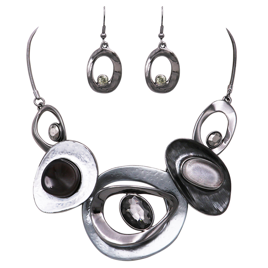 Contemporary Resin and Enamel Geo Hoop Link with Glass Crystals Bib Necklace and Earrings Set (Steel Grey Black/Hematite)