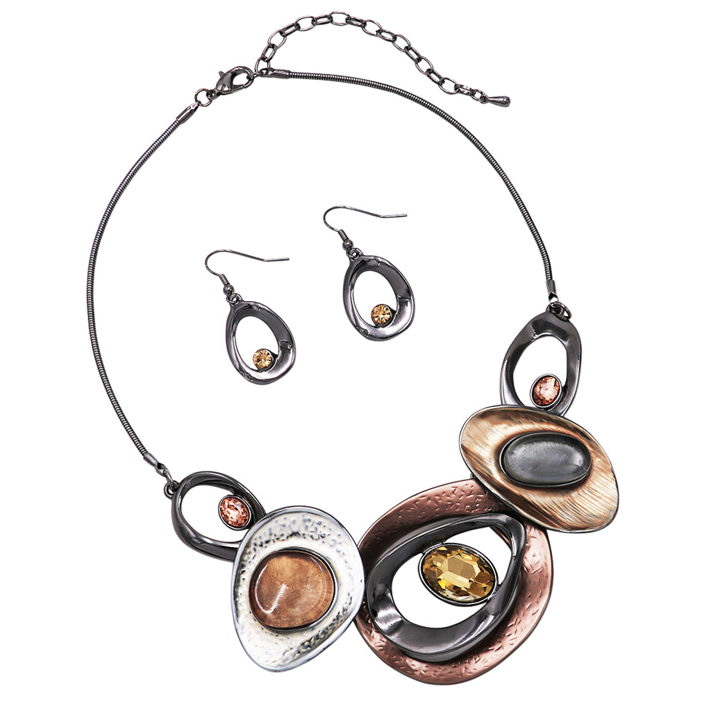 Contemporary Resin and Enamel Geo Hoop Link with Glass Crystals Bib Necklace and Earrings Set (Earth Browns/Hematite)