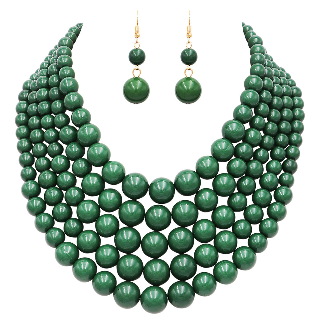 Multi Strand Simulated Pearl Bib Necklace and Earrings Jewelry Set (Forest Green)