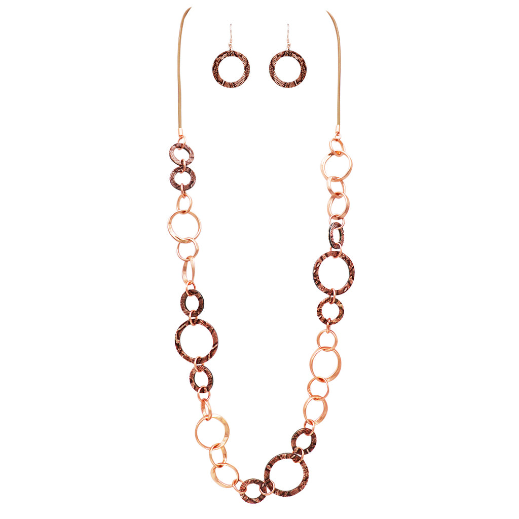 Faux Snake Skin and Rose Gold Tone Rings Long Statement Corded Necklace and Earrings Set