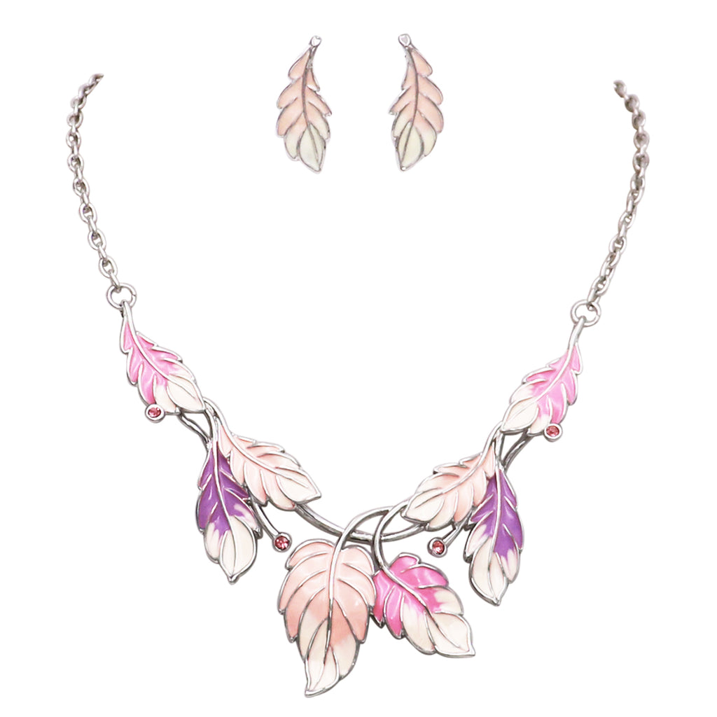 Pink Enamel Leaf Necklace and Post Drop Earrings Set