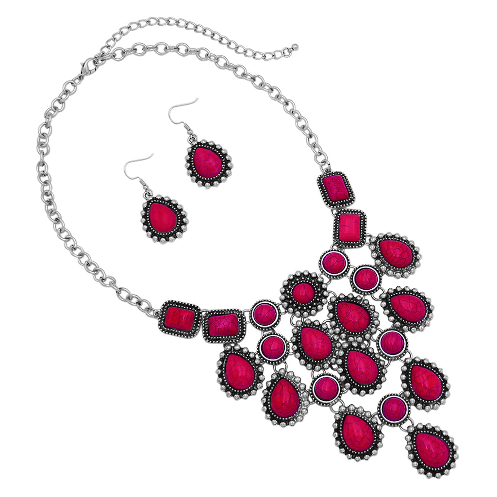 "Rosemarie Collections Women's Boho Natural Howlite Stone Dangle Statement Bib Necklace Drop Earrings Jewelry Set, 18""-21"" with 3"" Extender (Red)"