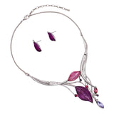 Leaf Design Statement Bib Necklace Earrings Set (Silver Tone/Purple)