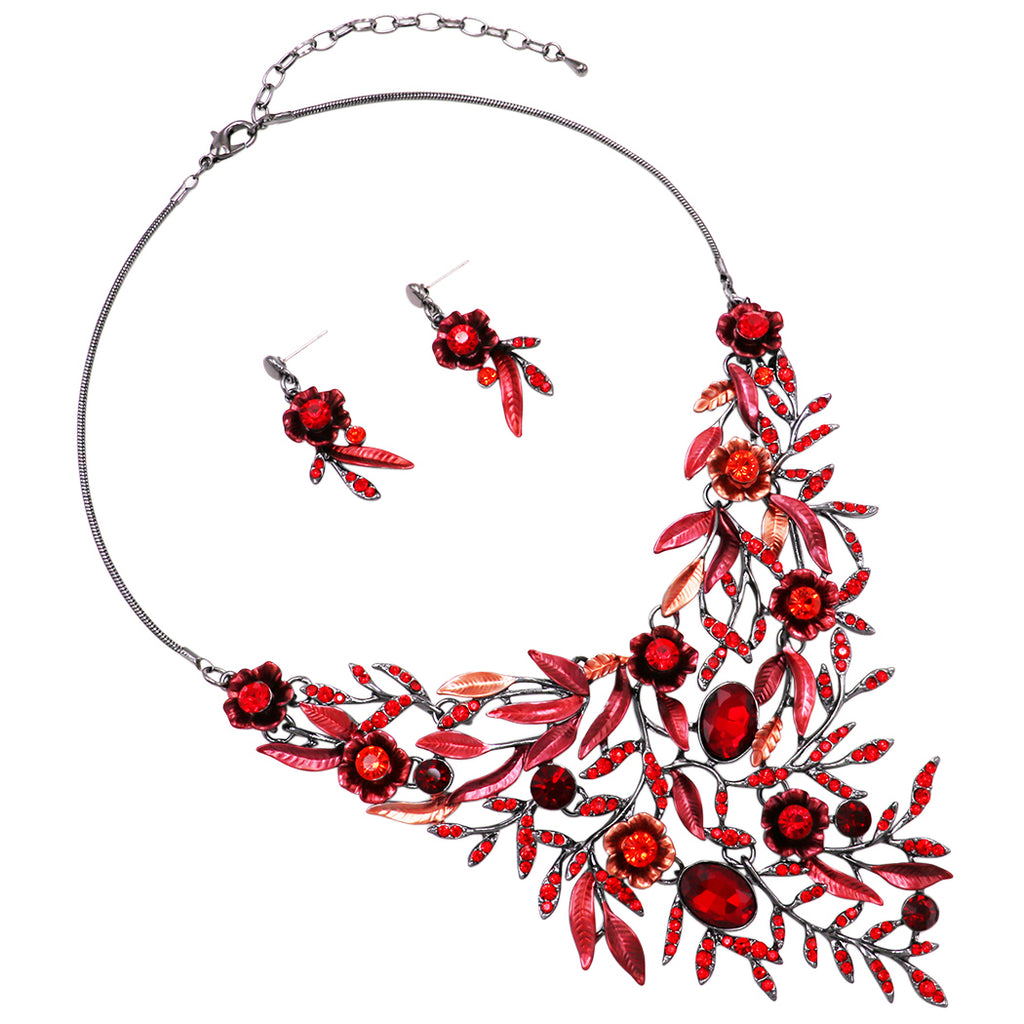 "Beautiful Red Floral Statement Bib Necklace and Earring Jewelry Set , 14"" with 3"" Extender"