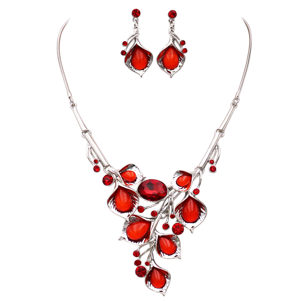 Red Crystal Cluster Floral Leaf Vine Statement Necklace Earrings Jewelry Set