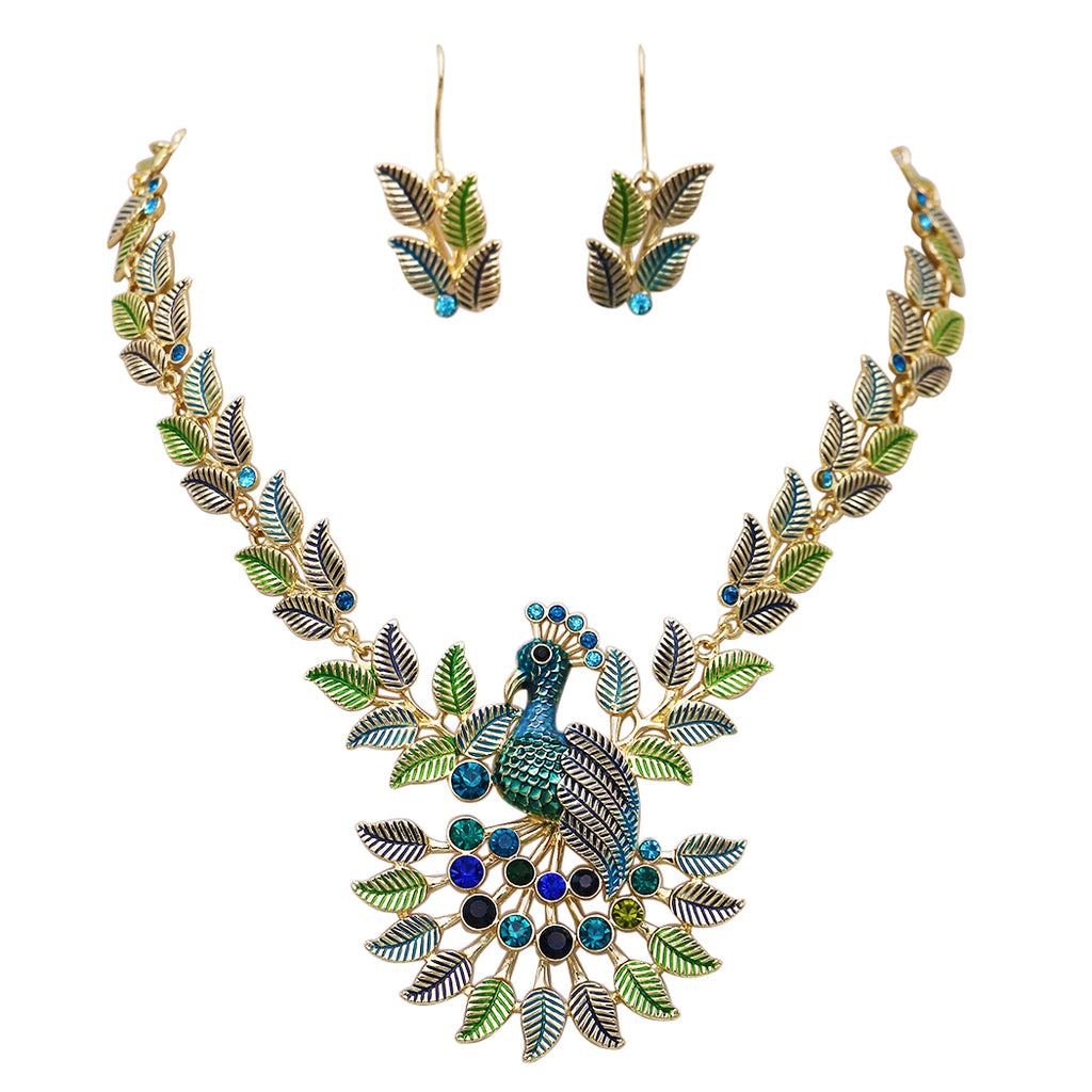Beautiful Peacock Necklace and Earrings Set