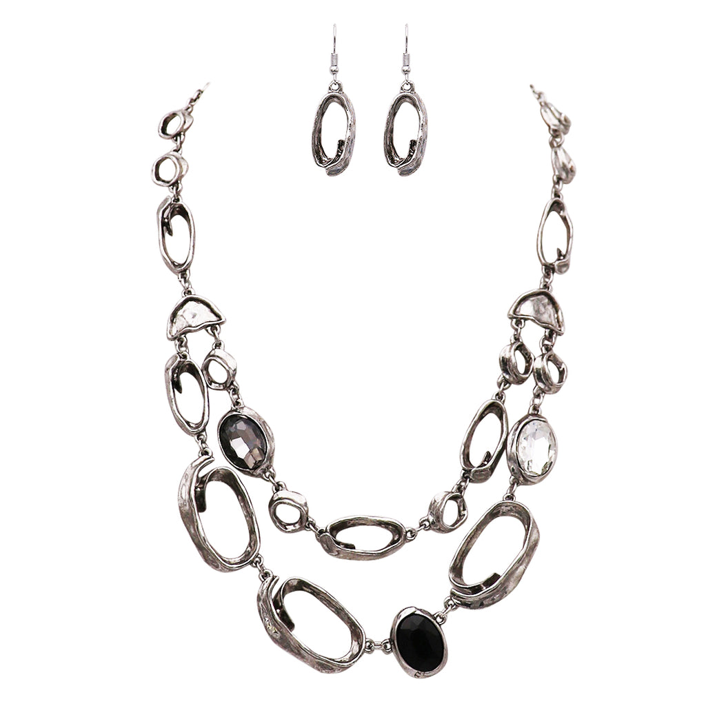 Open Link and Crystal Adjustable Statement Necklace and Earrings Jewelry Gift Set