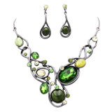 Green Crystal Statement Bib Necklace Set