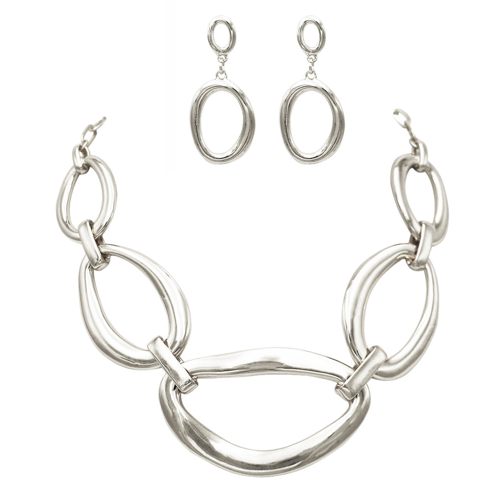 Contemporary Geometric Link Bib Necklace and Earrings Set (Silver)