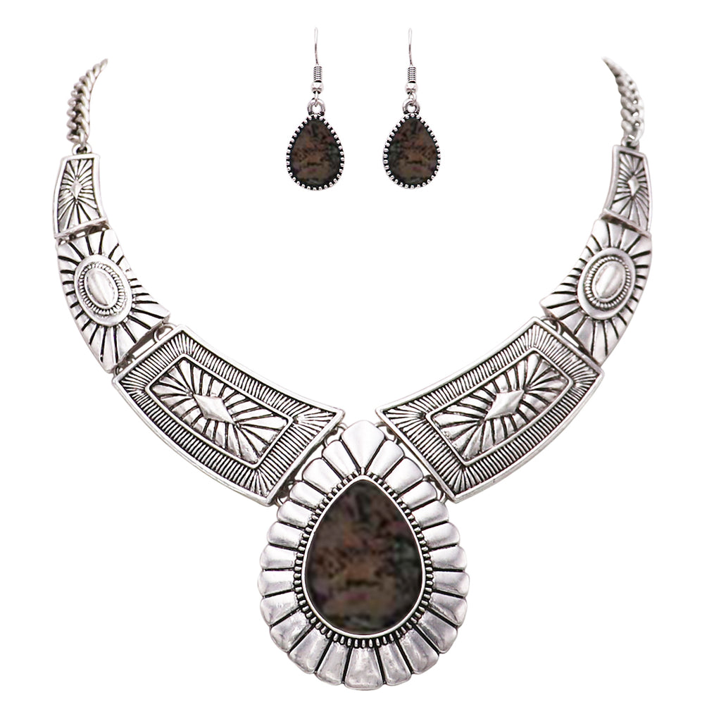 Teardrop Stone Statement Necklace Earrings Set (Abalone)