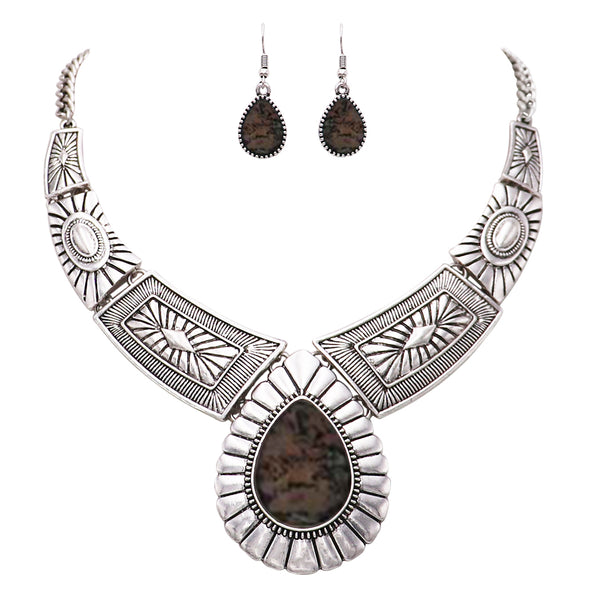 Romolo Grey Teardrop Statement Necklace
