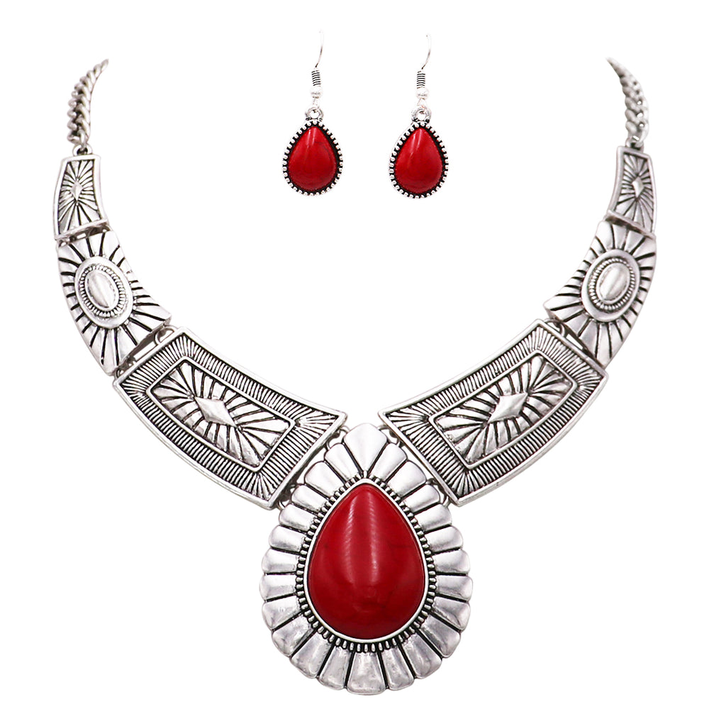 Western Style Teardrop Stone Statement Necklace Earrings Set