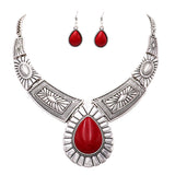 Southwest Teardrop Stone Statement Necklace Earrings Set
