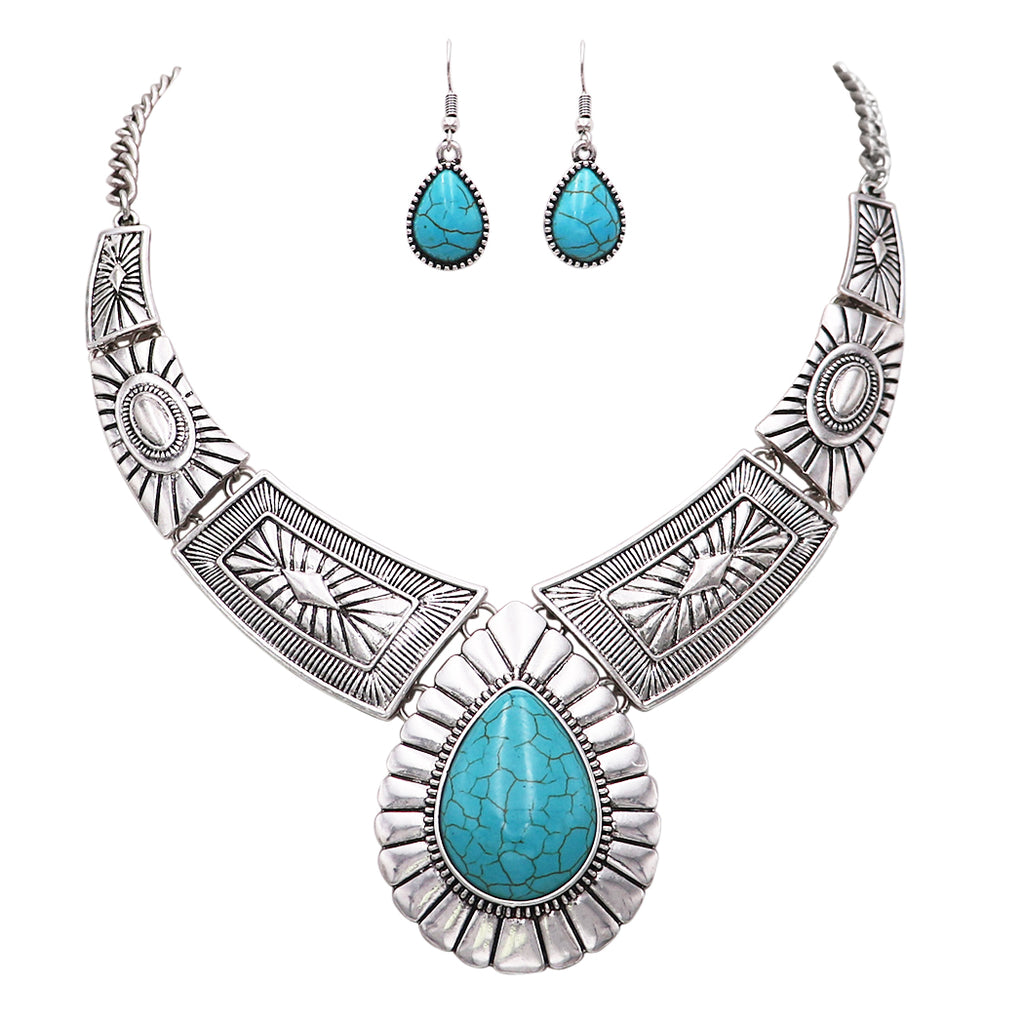 Teardrop Stone Statement Necklace Earrings Set (Turquoise Color)