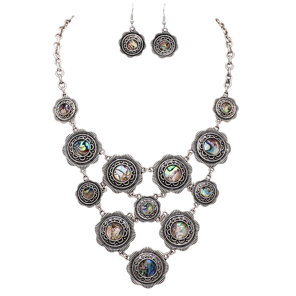Rosemarie Collections Women's Disc Statement Bib Necklace Earrings Jewelry Set (Abalone Shell)