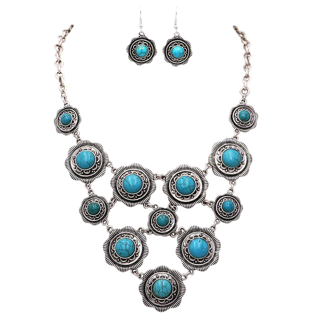 Rosemarie Collections Women's Long Statement Bib Necklace Earrings Set (Turquoise Color)