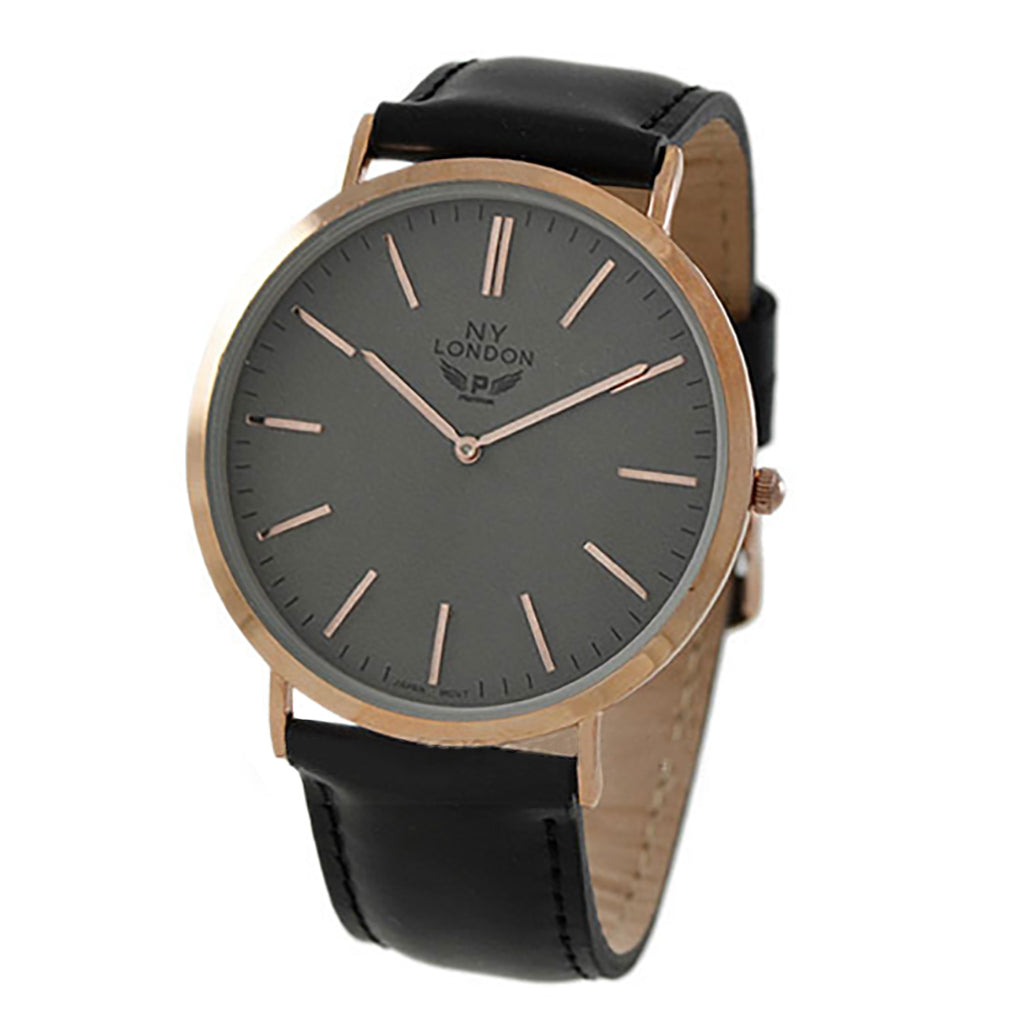 Rosemarie Collections Men's Black and Gray Large Round Face Watch with Leather Band