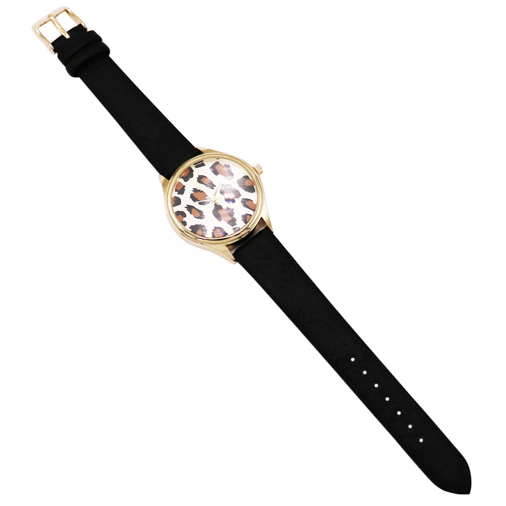 Leopard Face Print Wrist Watch Faux Black Leather Band Fashion Watch