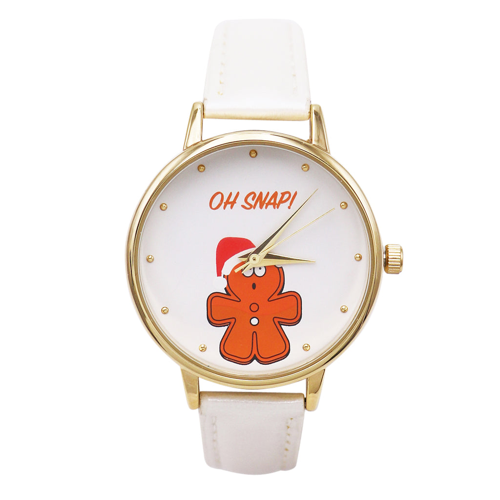 Fun Adjustable Holiday Christmas Watch with Christmas Cookie Design