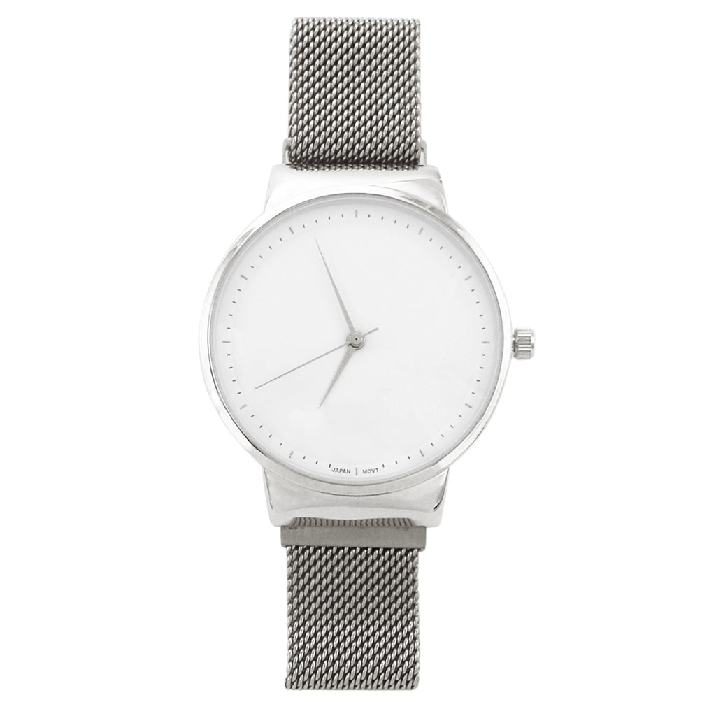 Rosemarie Collections Magnetic Milanese Metal Mesh Band Fashion Wrist Watch (Silver tone)