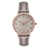 Mother of Pearl and Vegan Leather Fashion Watch (Taupe/ Rose Gold)